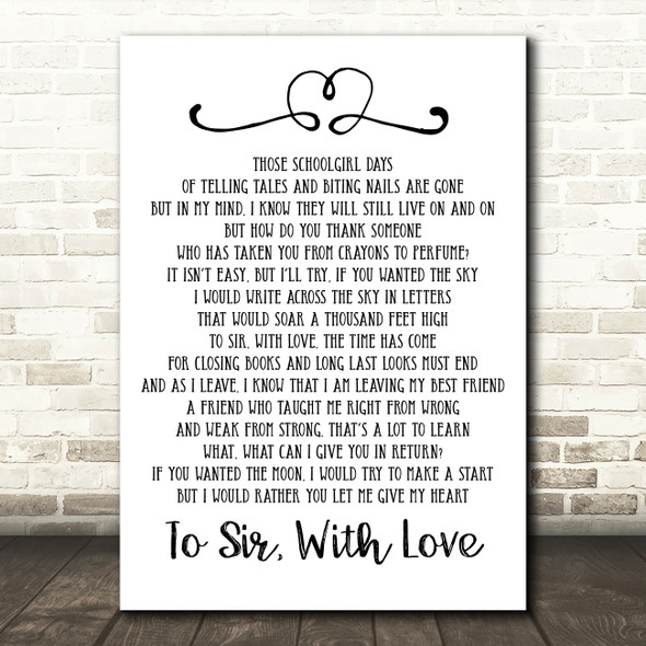 Lulu To Sir With Love Song Lyric Quote Print