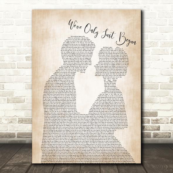 The Carpenters We've Only Just Begun Man Lady Bride Groom Wedding Print