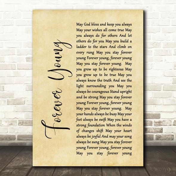 Bob Dylan Forever Young Rustic Script Song Lyric Quote Print