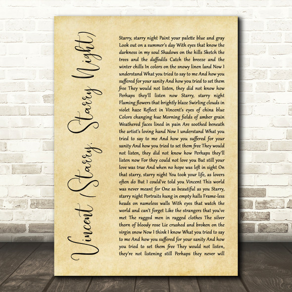 Don McLean Vincent (Starry, Starry Night) Rustic Script Song Lyric Quote Print