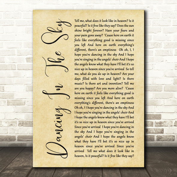 Dani And Lizzy Dancing In The Sky Rustic Script Song Lyric Quote Print