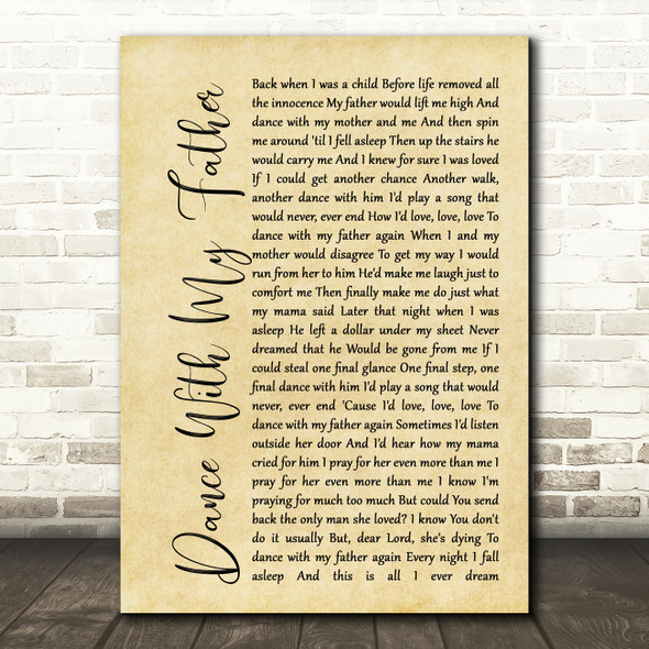 Luther Vandross Dance With My Father Rustic Script Song Lyric Quote Print