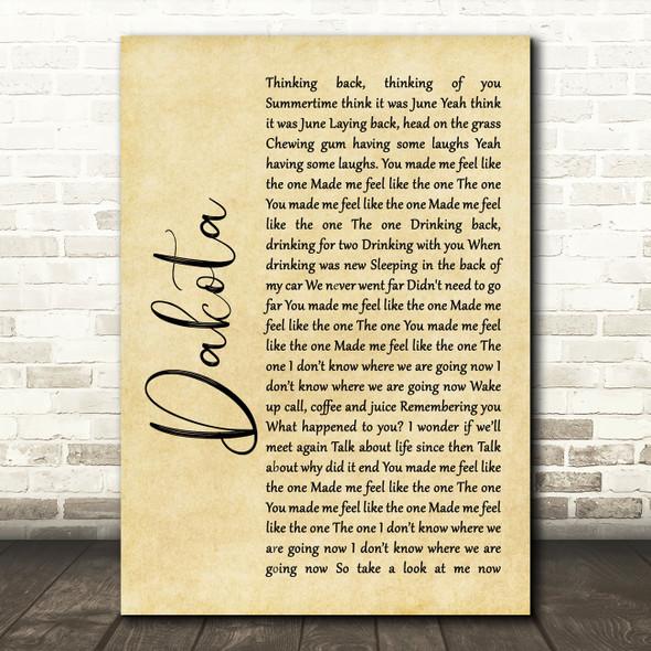 Stereophonics Dakota Rustic Script Song Lyric Quote Print