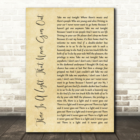 The Smiths There Is A Light That Never Goes Out Rustic Script Song Lyric Print