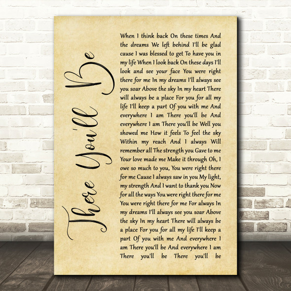Faith Hill There You'll Be Rustic Script Song Lyric Quote Print