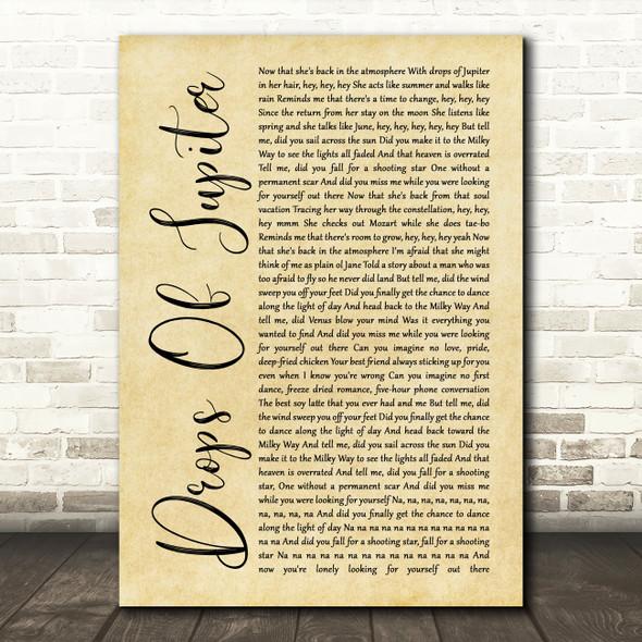Train Drops Of Jupiter Rustic Script Song Lyric Quote Print