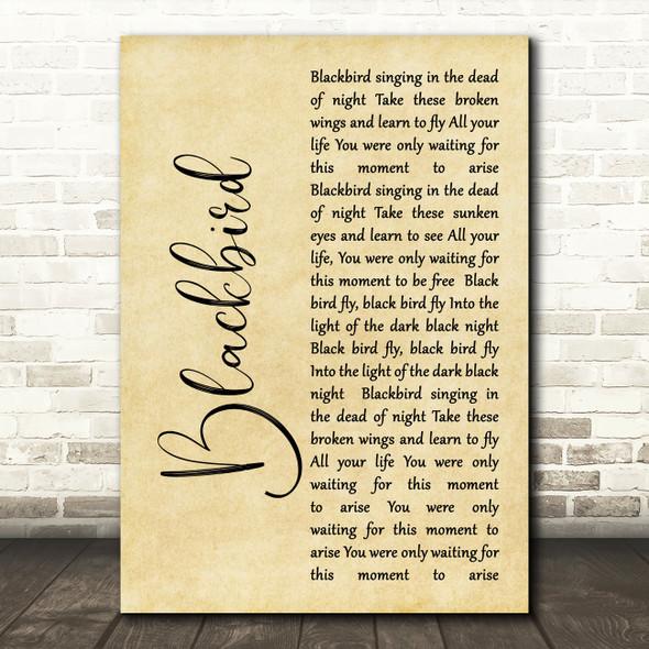 The Beatles Blackbird Rustic Script Song Lyric Quote Print