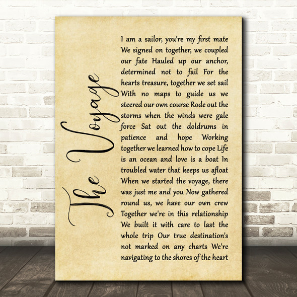Christy Moore The Voyage Rustic Script Song Lyric Quote Print