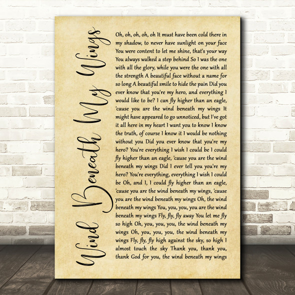 Bette Midler Wind Beneath My Wings Rustic Script Song Lyric Quote Print