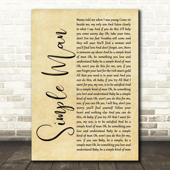 Lynyrd Skynyrd Simple Man Rustic Script Song Lyric Quote Print