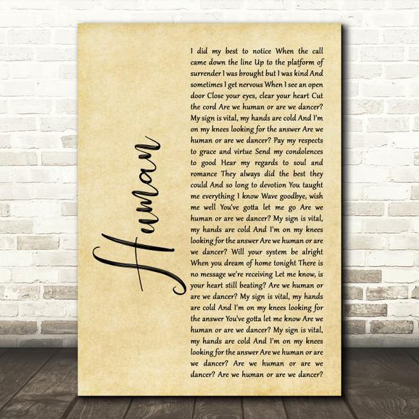 The Killers Human Rustic Script Song Lyric Quote Print