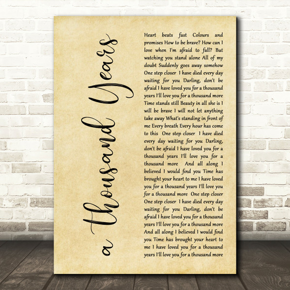 Christina Perri A Thousand Years Rustic Script Song Lyric Quote Print