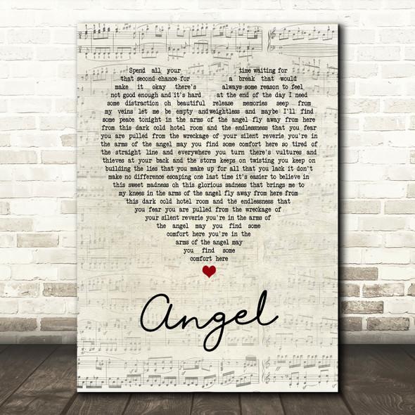 Sarah McLachlan Angel Script Heart Song Lyric Quote Print