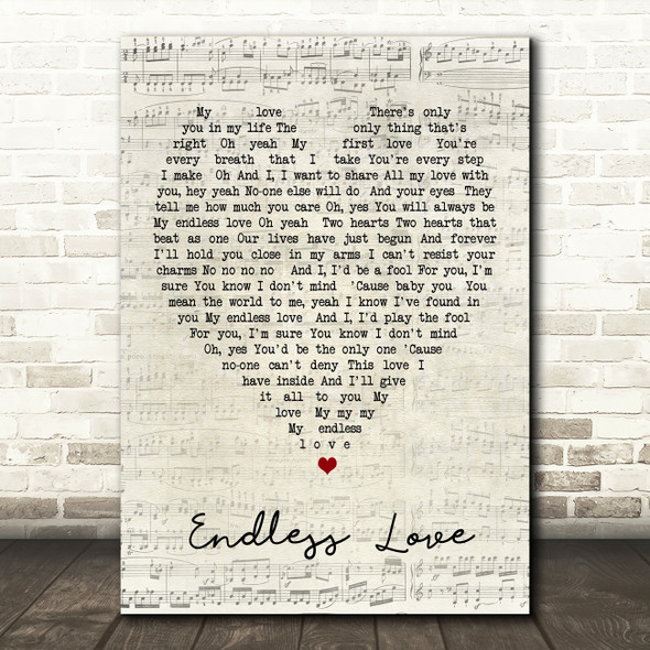 Endless Love Luther Vandross Script Heart Song Lyric Quote Print