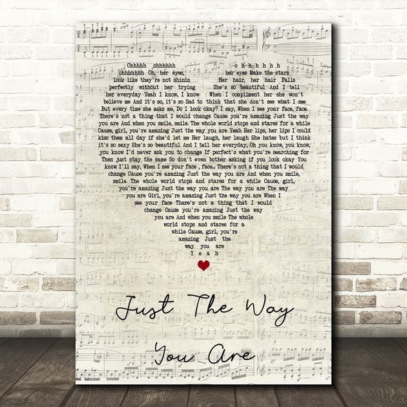 Bruno Mars Just The Way You Are Script Heart Song Lyric Quote Print