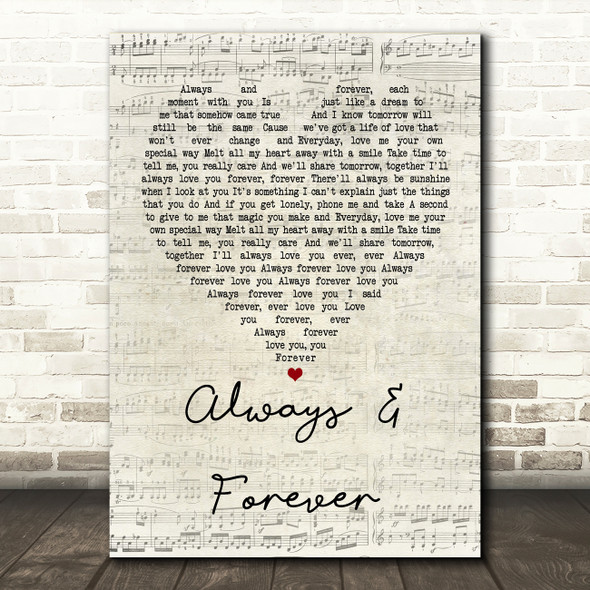 Heatwave Always And Forever Script Heart Song Lyric Quote Print