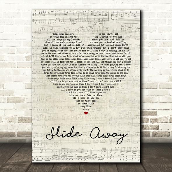 Oasis Slide Away Script Heart Song Lyric Quote Print