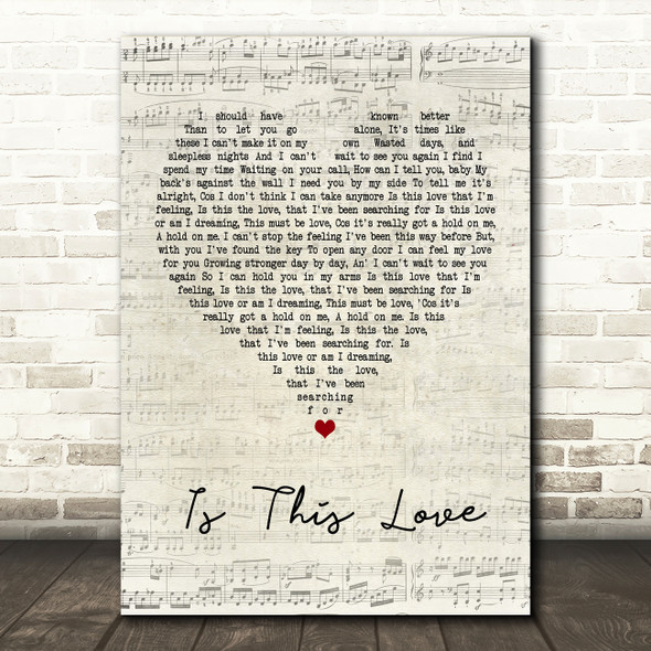 Whitesnake Is This Love Script Heart Quote Song Lyric Print