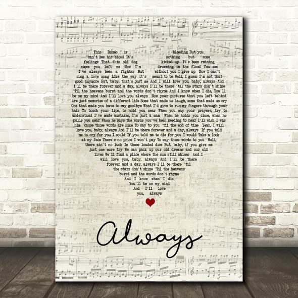 Bon Jovi Always Script Heart Song Lyric Quote Print