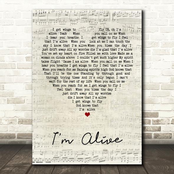 Celine Dion I'm Alive Script Heart Song Lyric Quote Print