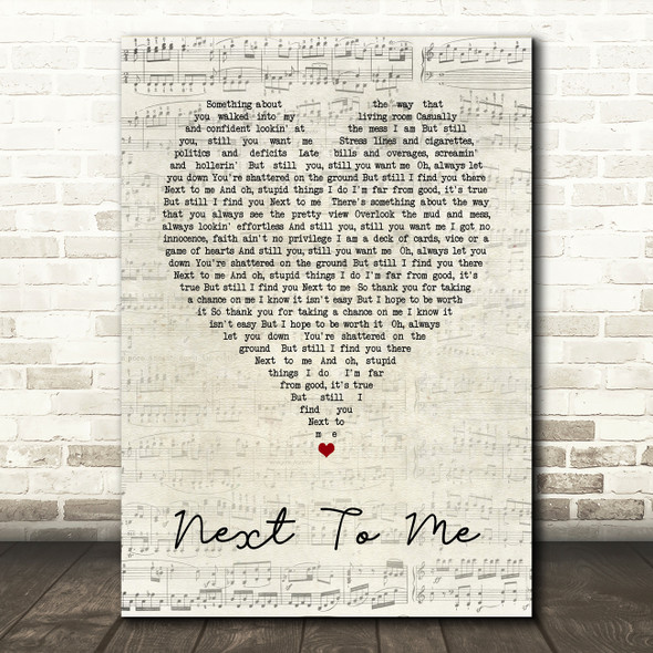 Imagine Dragons Next To me Script Heart Song Lyric Quote Print