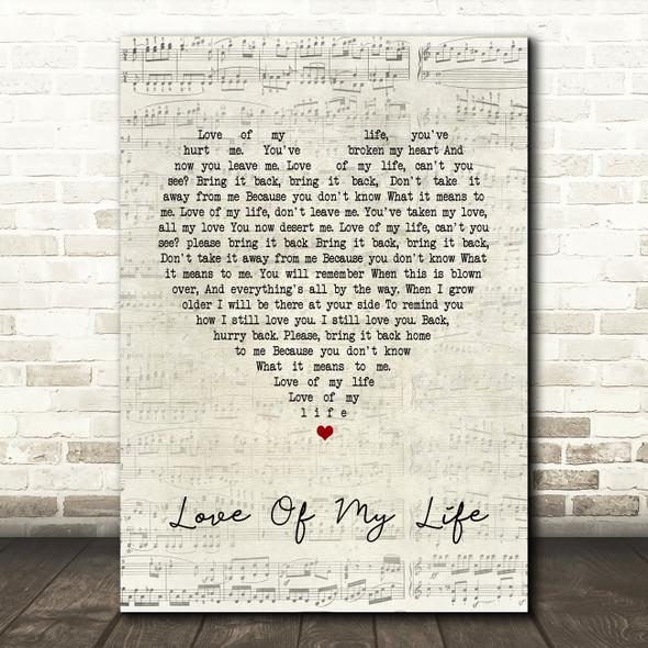 Queen Love Of My Life Script Heart Song Lyric Quote Print