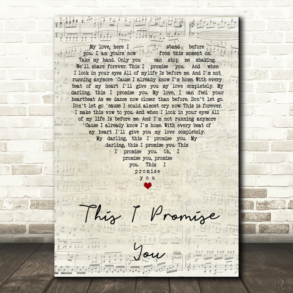 Ronan Keating This I Promise You Script Heart Song Lyric Quote Print