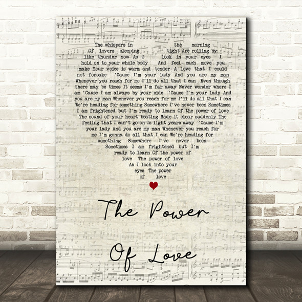 Celine Dione The Power Of Love Script Heart Song Lyric Quote Print