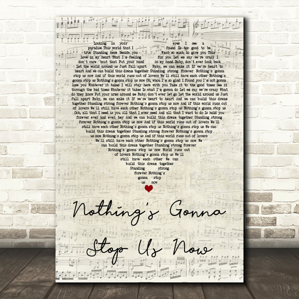Jefferson Starship Nothing's Gonna Stop Us Now Script Heart Song Lyric Print