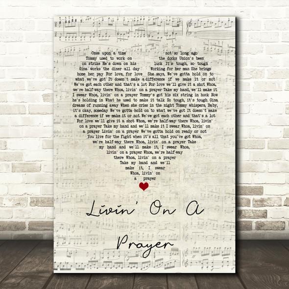Bon Jovi Livin' On A Prayer Script Heart Song Lyric Quote Print