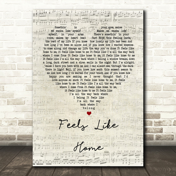 Chantal Kreviazuk Feels Like Home Script Heart Song Lyric Quote Print