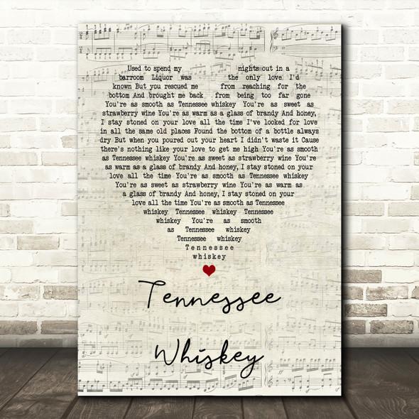 Chris Stapleton Tennessee Whiskey Script Heart Song Lyric Quote Print
