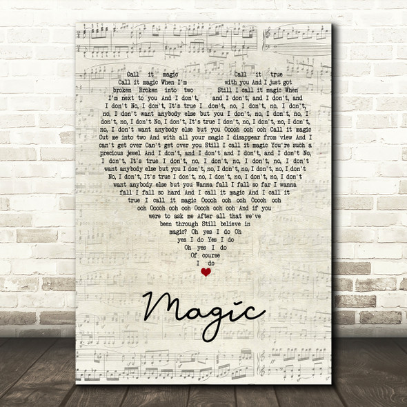 Coldplay Magic Script Heart Song Lyric Quote Print