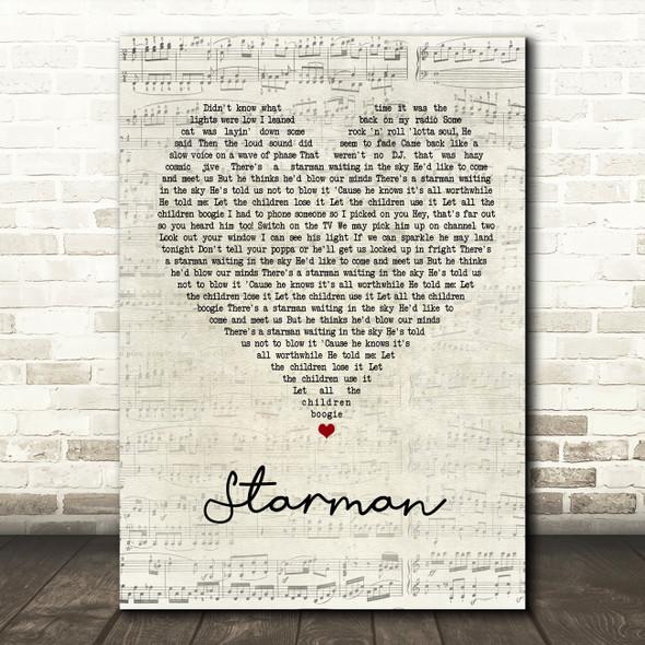 David Bowie Starman Script Heart Song Lyric Quote Print