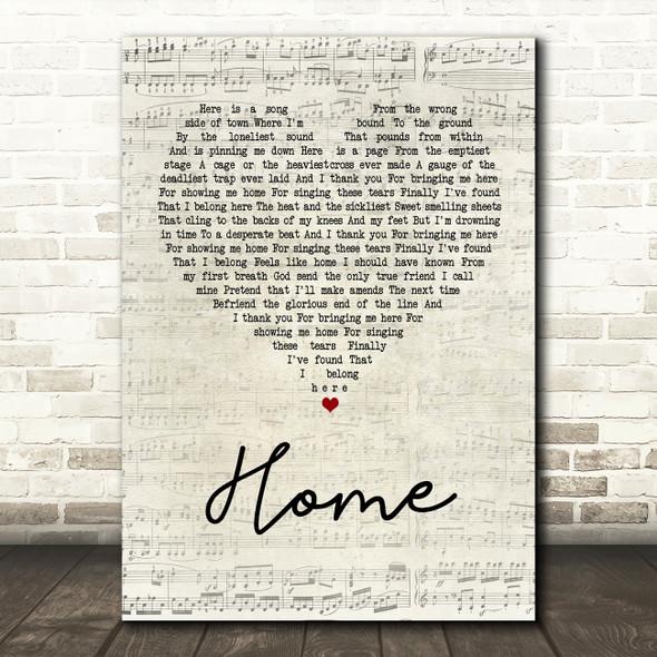 Depeche Mode Home Script Heart Song Lyric Quote Print