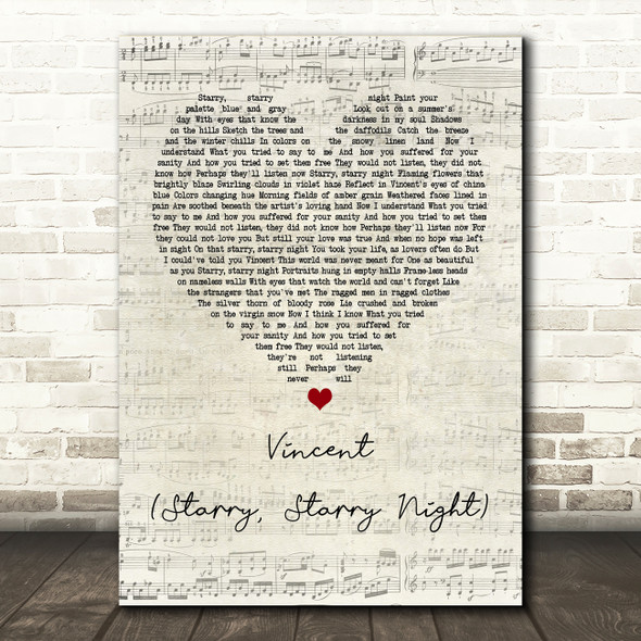 Don McLean Vincent (Starry, Starry Night) Script Heart Song Lyric Quote Print