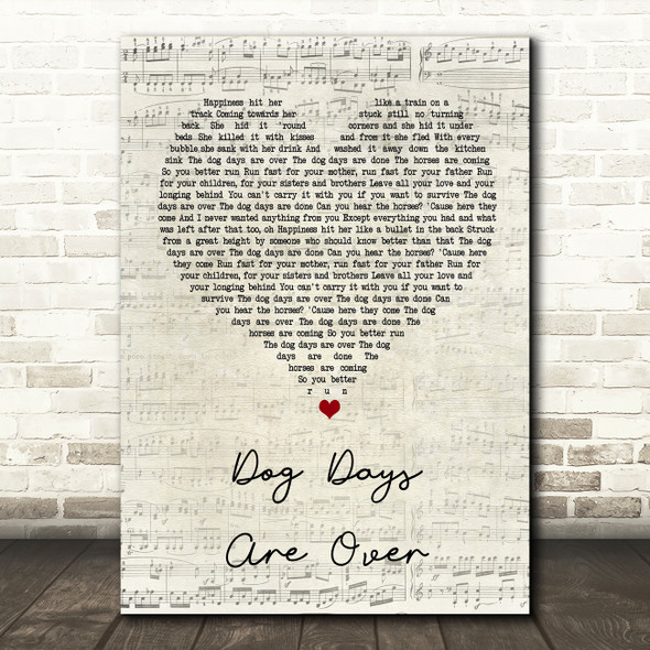 Florence + The Machine Dog Days Are Over Script Heart Song Lyric Quote Print