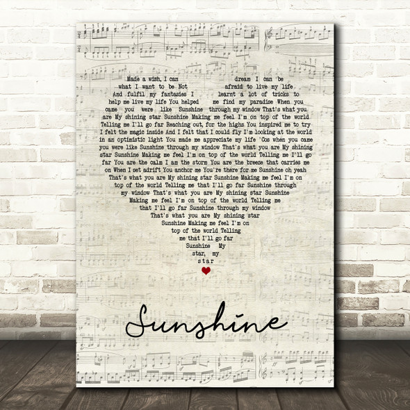 Gabrielle Sunshine Script Heart Song Lyric Quote Print