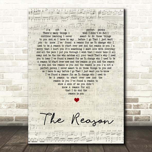 Hoobastank The Reason Script Heart Song Lyric Quote Print