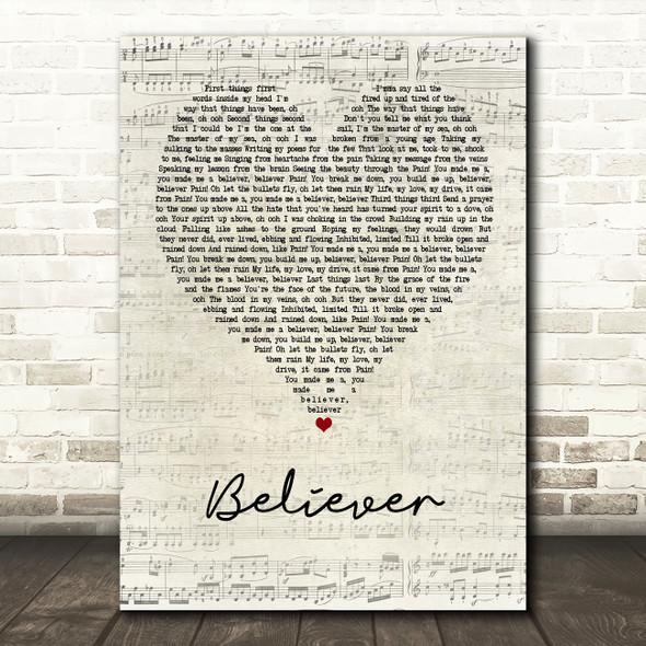 Imagine Dragons Believer Script Heart Song Lyric Quote Print