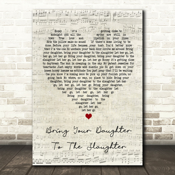 Iron Maiden Bring Your Daughter To The Slaughter Script Heart Song Lyric Print