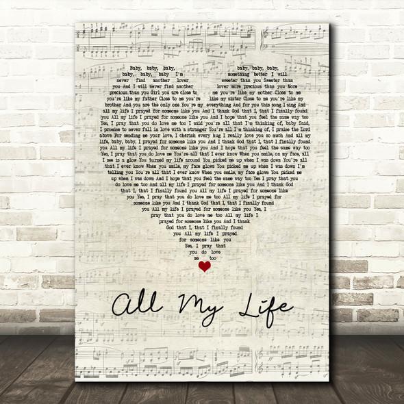 K-Ci & JoJo All My Life Script Heart Song Lyric Quote Print