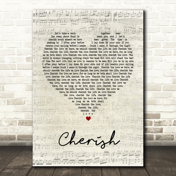 Kool & The Gang Cherish Script Heart Song Lyric Quote Print
