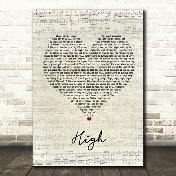 Lighthouse Family High Script Heart Song Lyric Quote Print