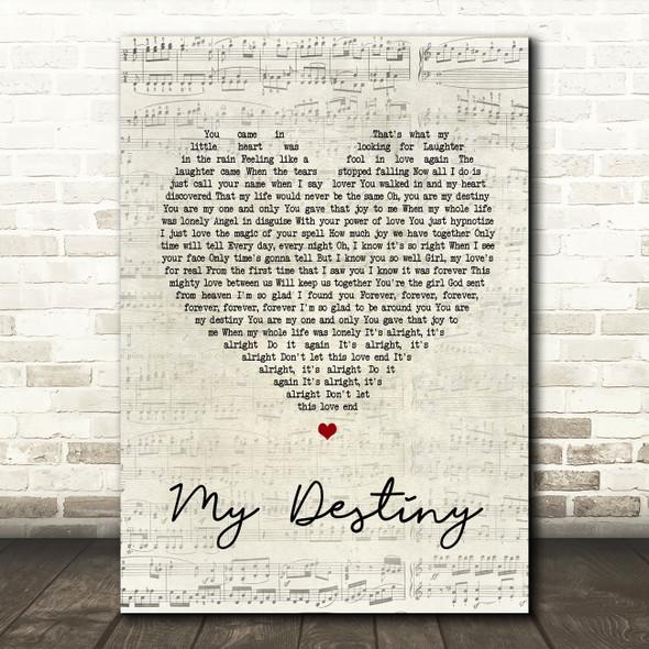 Lionel Ritchie My Destiny Script Heart Song Lyric Quote Print