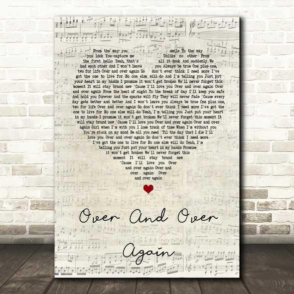 Nathan Sykes Over And Over Again Script Heart Song Lyric Quote Print
