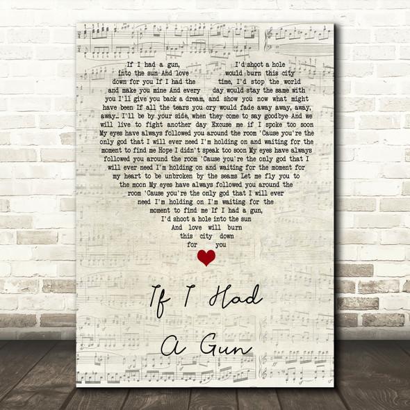 Noel Gallagher If I Had A Gun… Script Heart Song Lyric Quote Print