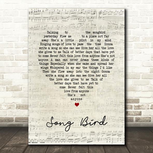 Oasis Song Bird Script Heart Song Lyric Quote Print