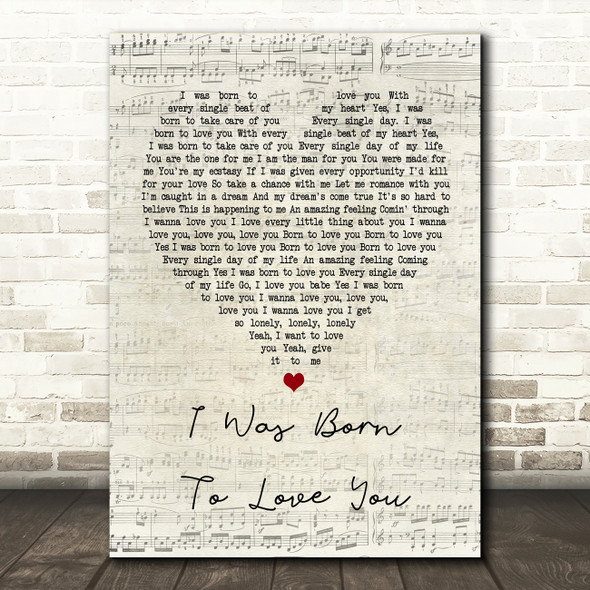 Queen I Was Born To Love You Script Heart Song Lyric Quote Print