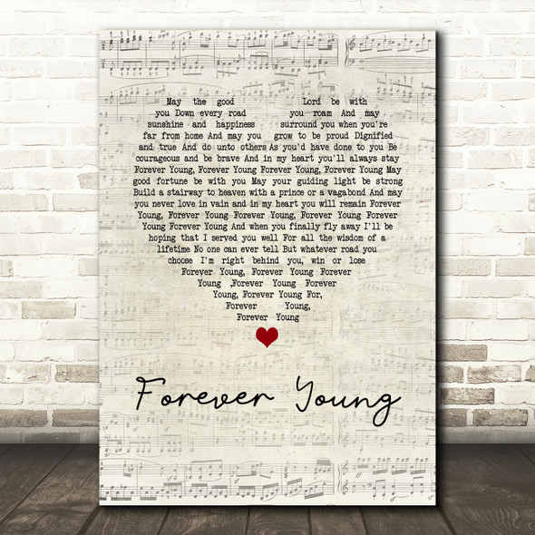 Rod Stewart Forever Young Script Heart Song Lyric Quote Print